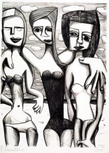 Badende (mit Badeanzug) Lithographie
