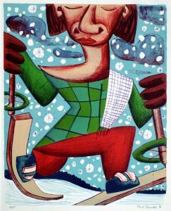 Skifahrer 1996 Lithographie 47x38cm