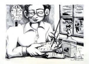 Uhrenschildermaler Lithographie