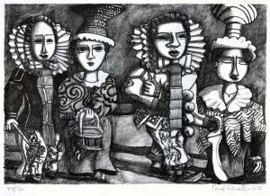 Vier Villinger Narren 2018 Lithographie 18 x 26 cm